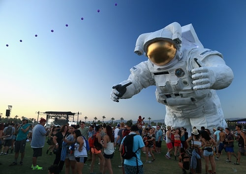 INDIO, CA - APRIL 11: Escape Velocity art installation by Poetic Kinetics is seen during day 1 of the 2014 Coachella Valley Music & Arts Festival at the Empire Polo Club on April 11, 2014 in Indio, California. (Photo by Christopher Polk/Getty Images for Coachella)